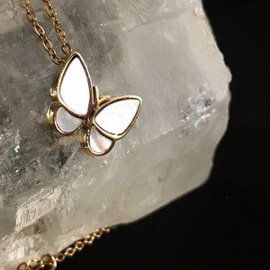 White Pearl Butterfly 18 K gold Plated Neckace